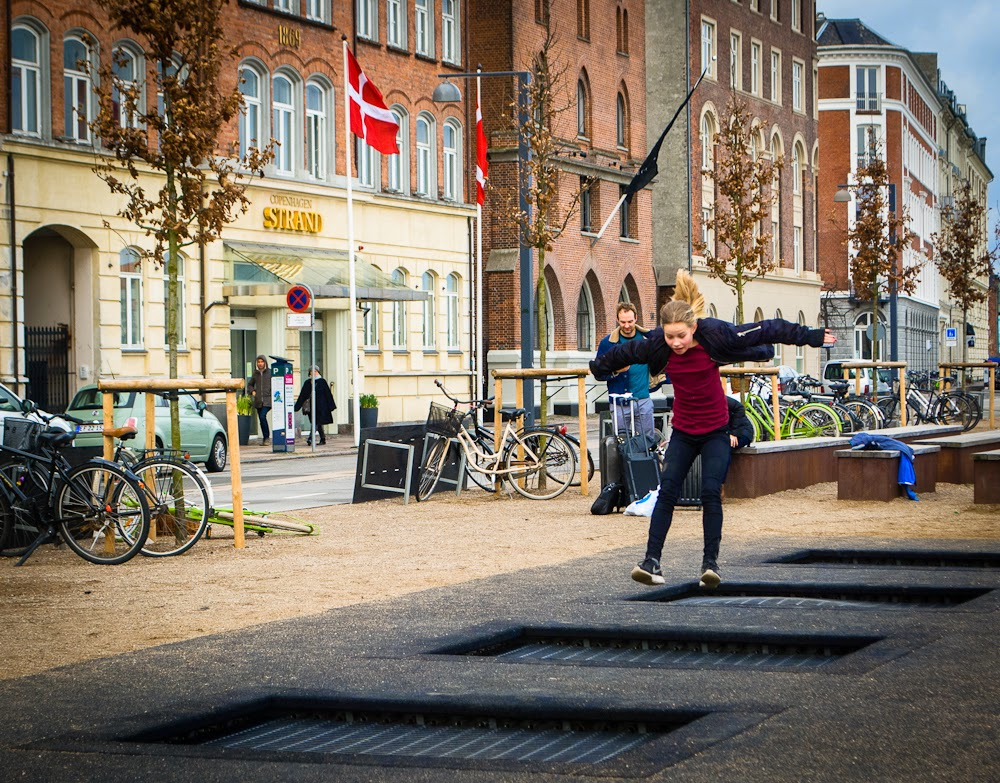 trampolines in copenhagen by the water