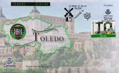 sobre, matasellos, Toledo, sello, filatelia