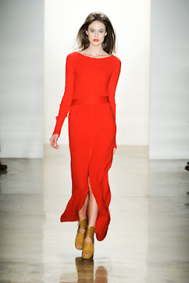 Orange floor length Costello Tagliapietra dress from their Fall 2011 runway show