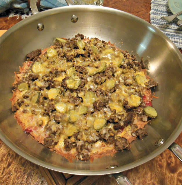 Easy Cheeseburger Pizza, knife and fork style, easy weeknight dinner.