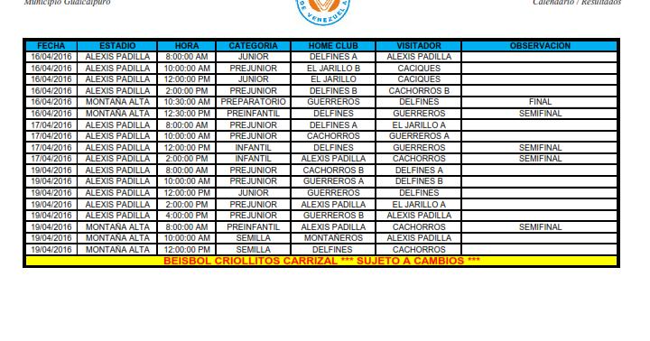 ... Criollitos Carrizal. Calendario de Juegos. Campeonato 2015-2016