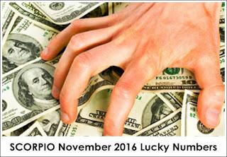SCORPIO November 2016 Lucky Numbers