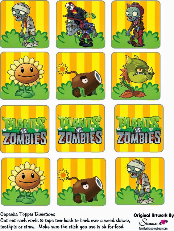 Plants vs Zombies Free Printable Cupcake Toppers and Wrappers Oh My Fiesta! in english