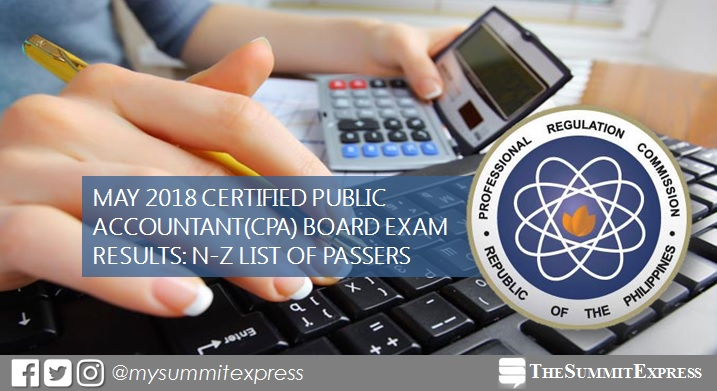 N-Z LIST OF PASSERS: May 2018 CPA board exam result