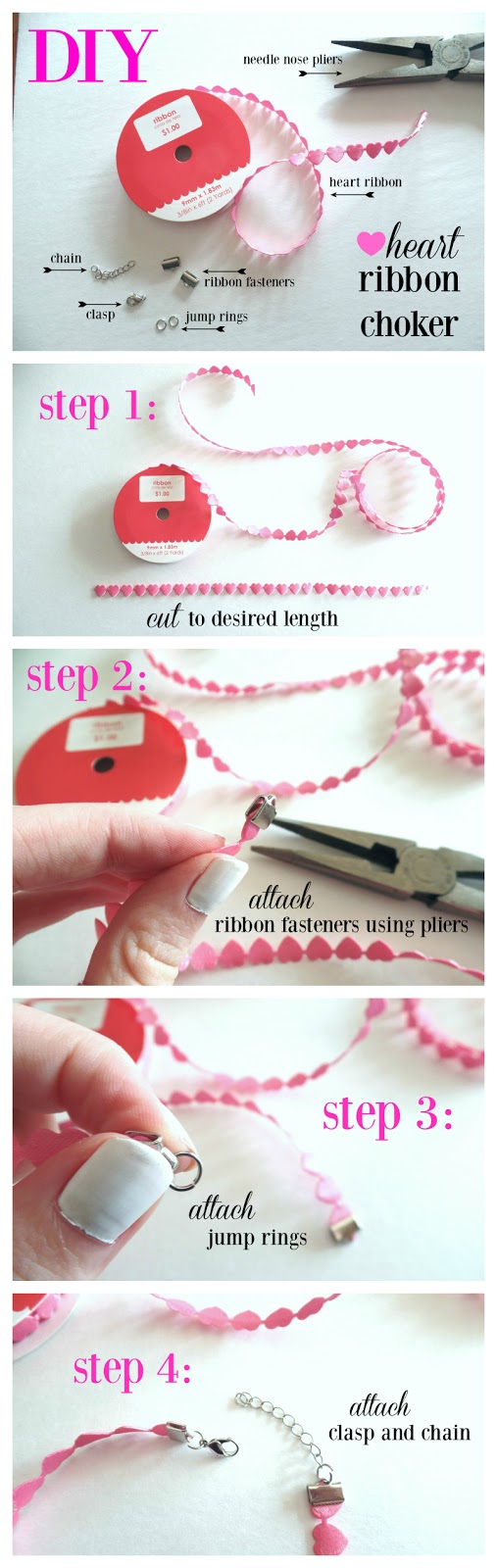DIY heart ribbon choker necklace how to