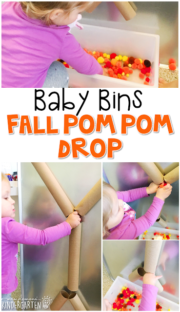 This pom pom drop activity is great for a fall theme and is completely baby safe. These Baby Bin plans are perfect for learning with little ones between 12-24 months old.