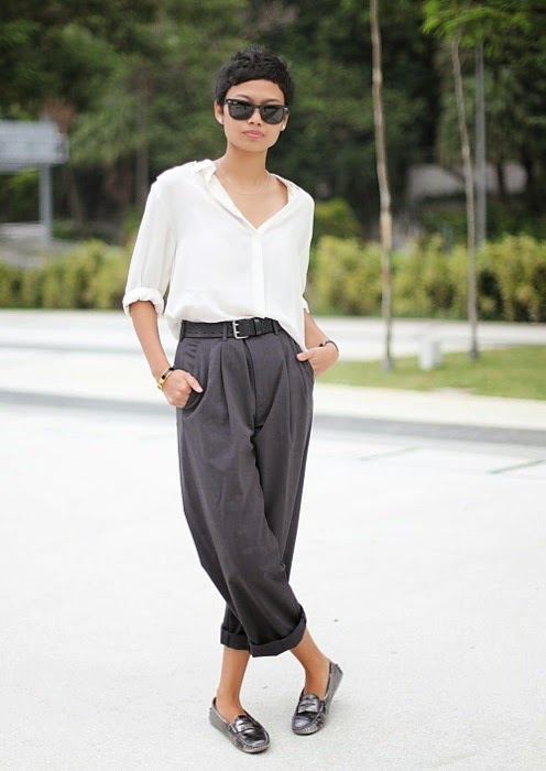 Slouchy pants & silver loafers