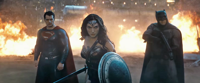 "Henry Cavill as Superman, Gal Gadot as Wonder Woman, and Ben Affleck as Batman in ""Batman v Superman: Dawn of Justice"""