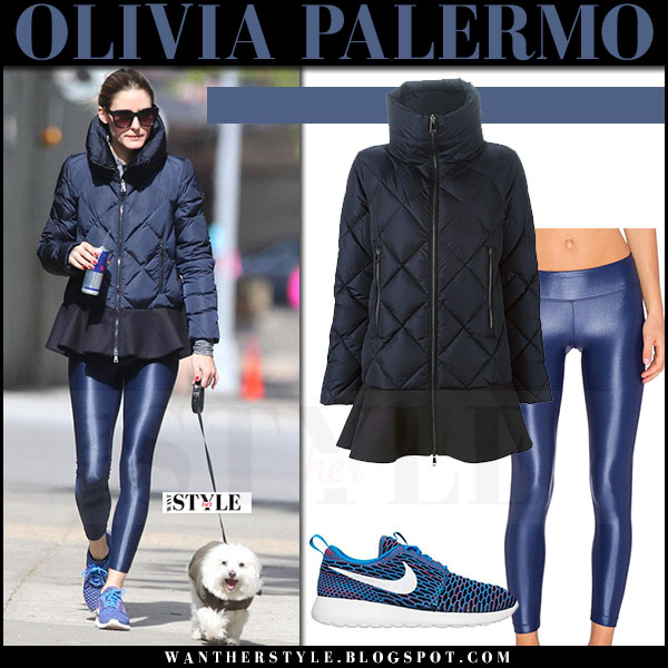 Olivia Palermo in blue puffer peplum jacket moncler vouglans and shiny blue leggings koral lustrous what she wore may 2017
