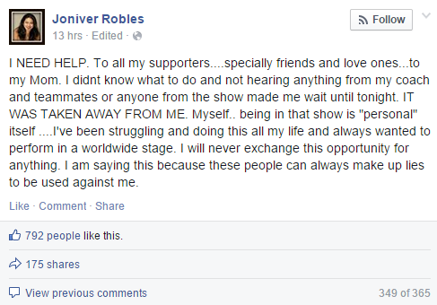 Joniver Robles disqualified from 'The Voice of the Philippines'?
