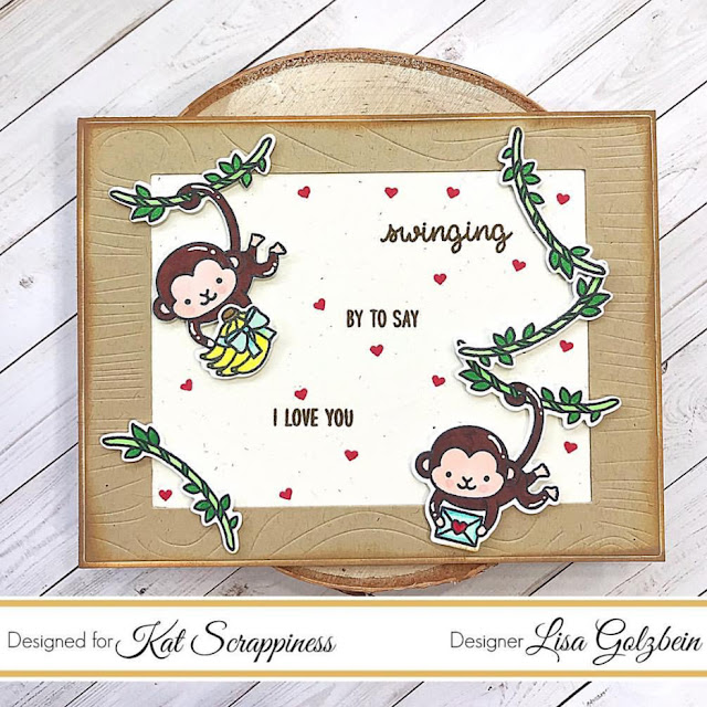 Sunny Studio Stamps: Love Monkey Customer Card by Lisa