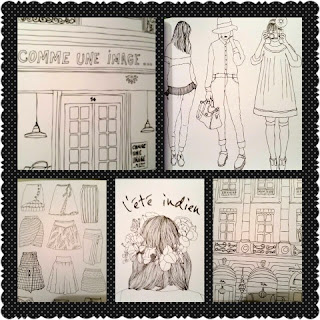 paris street style coloring book collage