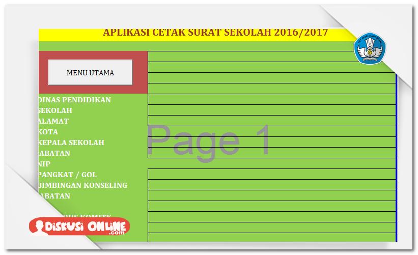 Aplikasi Cetak Surat Sekolah Otomatis V2 Terbaru Berkas Kurikulum 2013