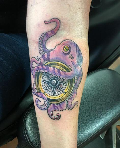 e32aefc1d Navy and sailors can opt for octopus tattoo with compass tattoo designs.