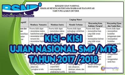 Kisi - Kisi Ujian Nasional (UN) SMP/MTs 2017/2018 Lengkap