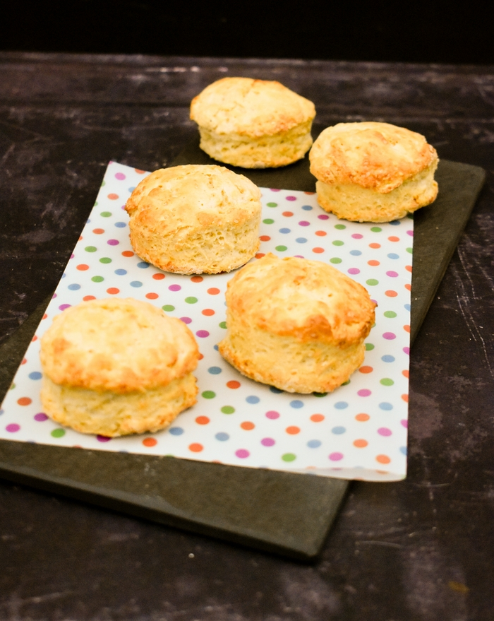 A slate filled with buttery vegan scottish scones