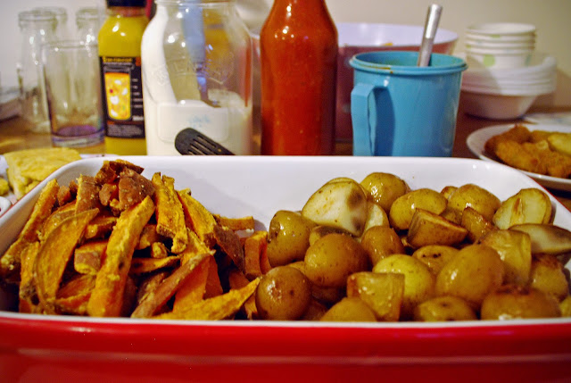 Spanish food - vegan tapas - patatas bravas & sweet potato fries