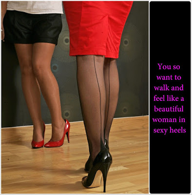 Walking in sexy heels Dream TG Caption - Sissy TG Captions - Crossdressing and Sissy Tales and Captioned images