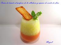 Crema de tomates al perfume de la albahaca y espuma de aceite de oliva