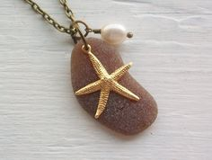 Sea Glass Necklace - Scottish Sea Glass and Starfish
