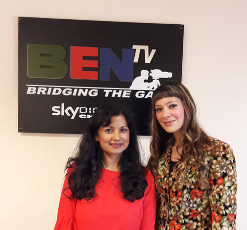 Anna-Christina and Dawattie Basdeo at Ben TV Studios in London