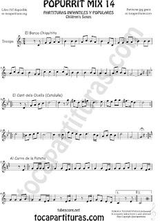 Partitura de Trompa y Corno Francés en Mi bemol Popurrí Mix 14 Chiquitito, El Cant dels Ocells, Al corro de la patata Sheet Music for French Horn Music Scores