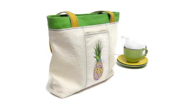 Ананас Белая сумка с тропическим принтом - вышитая сумка, натуральный канвас и натуральная кожа