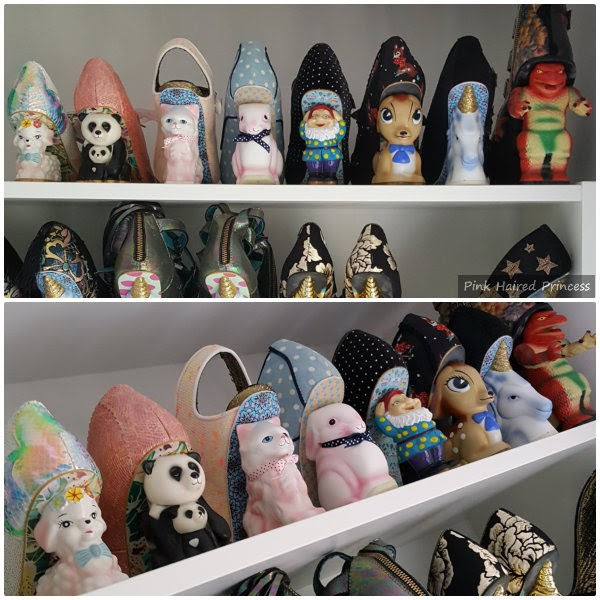 two images of a row of character heeled shoes on shelf