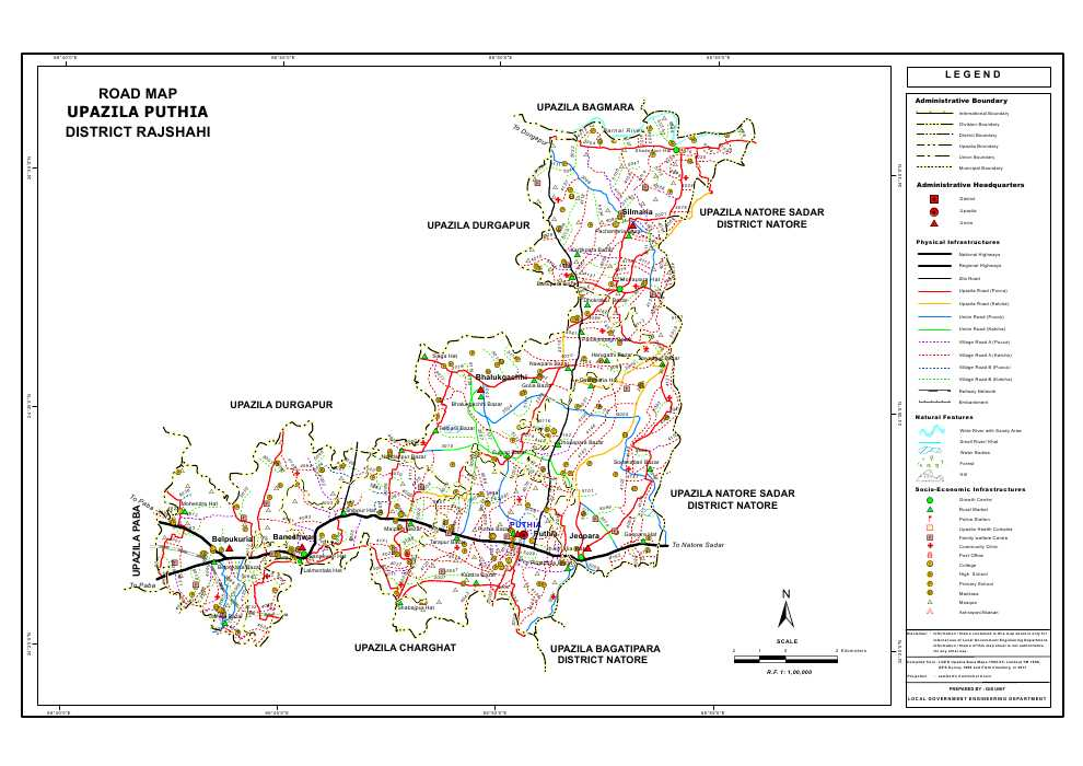 Puthia Upazila Road Map Rajshahi District Bangladesh