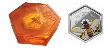 Η Νέα Ζηλανδία επέλεξε σαν θέμα τη μέλισσα για να διακοσμήσει το πρώτο παγκοσμίως εξάγωνο ασημένιο νόμισμα με ενσωματομένα κομμάτια κεχριμπάρι
