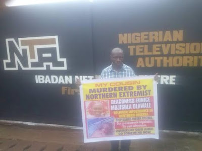 Cousin of slained RCCG Evangelist protests in front of NTA, Ibadan, demands Justice (photos)