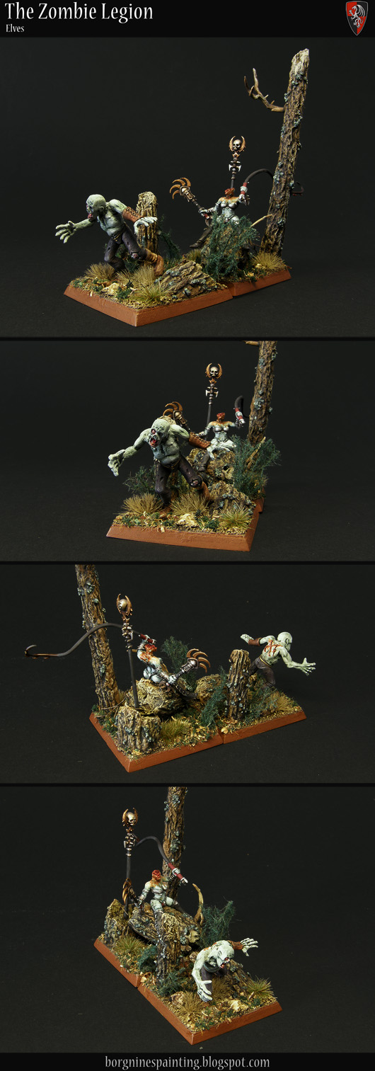 Tabletop miniature zombies for my horde unit - a unit filler. One base is taken by a headless Dark Elf zombie sorceress sitting on a log, readying a whip to scourge a human zombie running on the second base. This little double diorama is set in a forest, with trees and foliage.