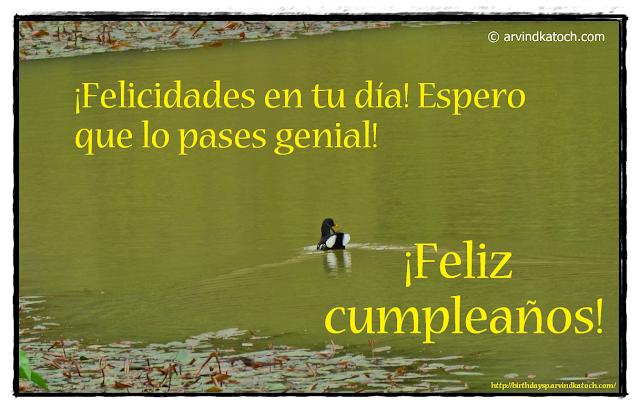 Tarjeta de cumpleaños, ¡Felicidades, Espero, genial, cumpleaños