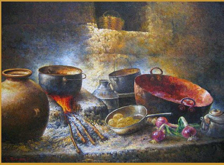 Imagenes Arte Pinturas Cuadros Bodegones Con Cocinas Pintados Al Oleo - Cuadros-de-cocinas