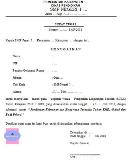 contoh format surat tugas pemateri kegiatan mpls