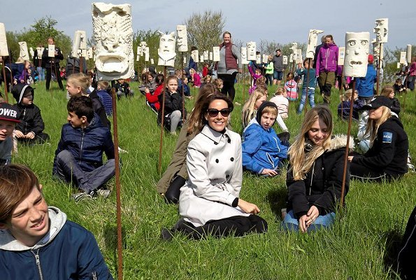 Princess Marie of Denmark attended Geokids event which is a child art project of Danish National Commission for Unesco, held at Geopark Odsherred.