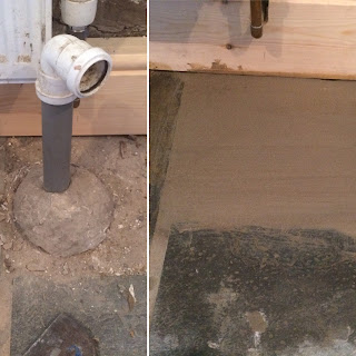 Before and after, blocking up a drain.