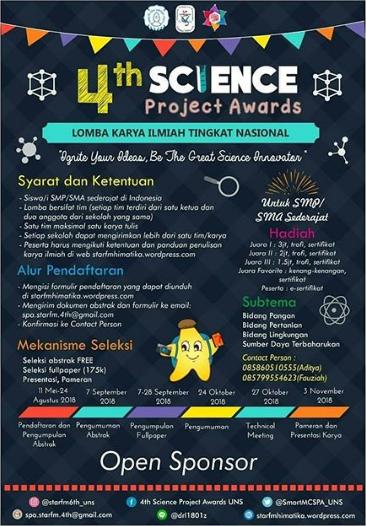 Lomba Karya Tulis Ilmiah Nasional 4th Science Project Awards SMP/SMA Sederajat UNS 2018