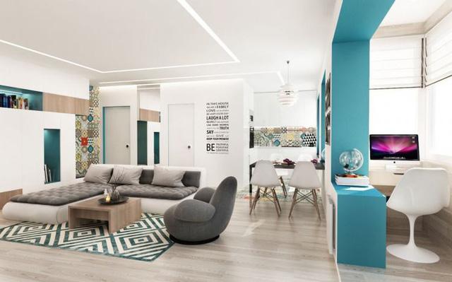 Không gian phòng khách căn hộ 55m2