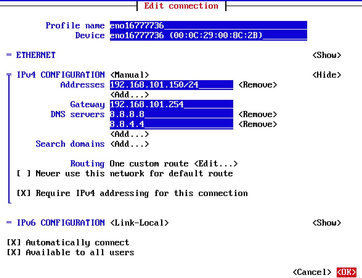Centos7 Network Manager ile Statik Ip Yapılandırması
