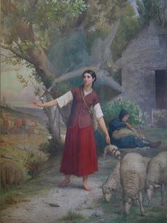 Jeanne d'Arc et ses voix à Domrémy, fresque de Jules Eugène Lenepveu au Panthéon / source : Wikipedia