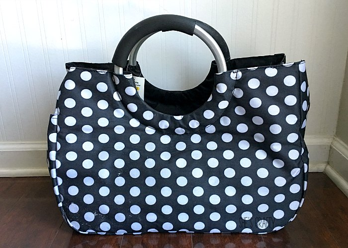 cute black with white polka dot bag with handles at Aldi, bag, metal handle bag
