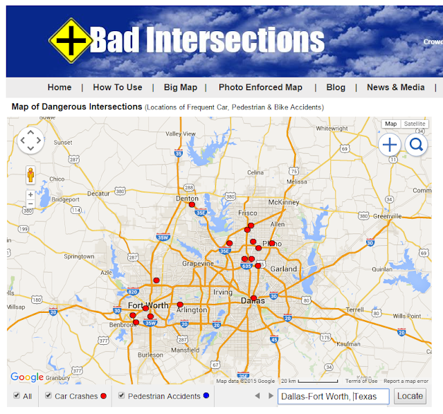 Dangerous intersections in Dallas