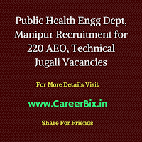 Public Health Engg Dept, Manipur Recruitment for 220 AEO, Technical Jugali Vacancies