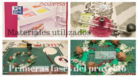 Collage con materiales y algunas fases del proceso.