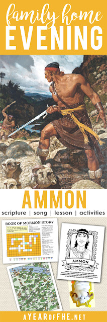 A Year of FHE // a free Family Home Evening about how Ammon used humility, service, and courage to be a good missionary. Includes song, scripture, lesson, and four activities to choose from! #lds #familyhomeevening #bookofmormon #ammon