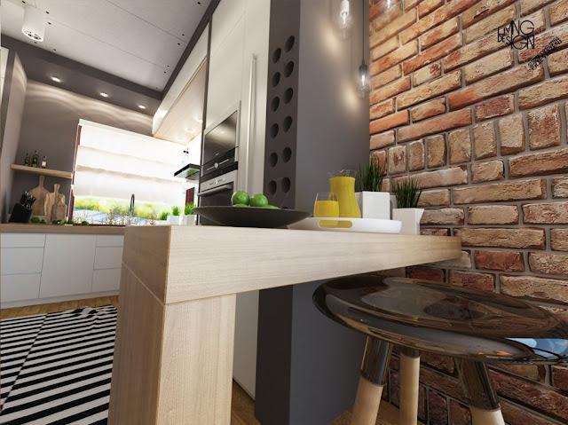 Pequena cozinha integrada à sala: bem planejada, delicada e moderna. Achados de Decoração