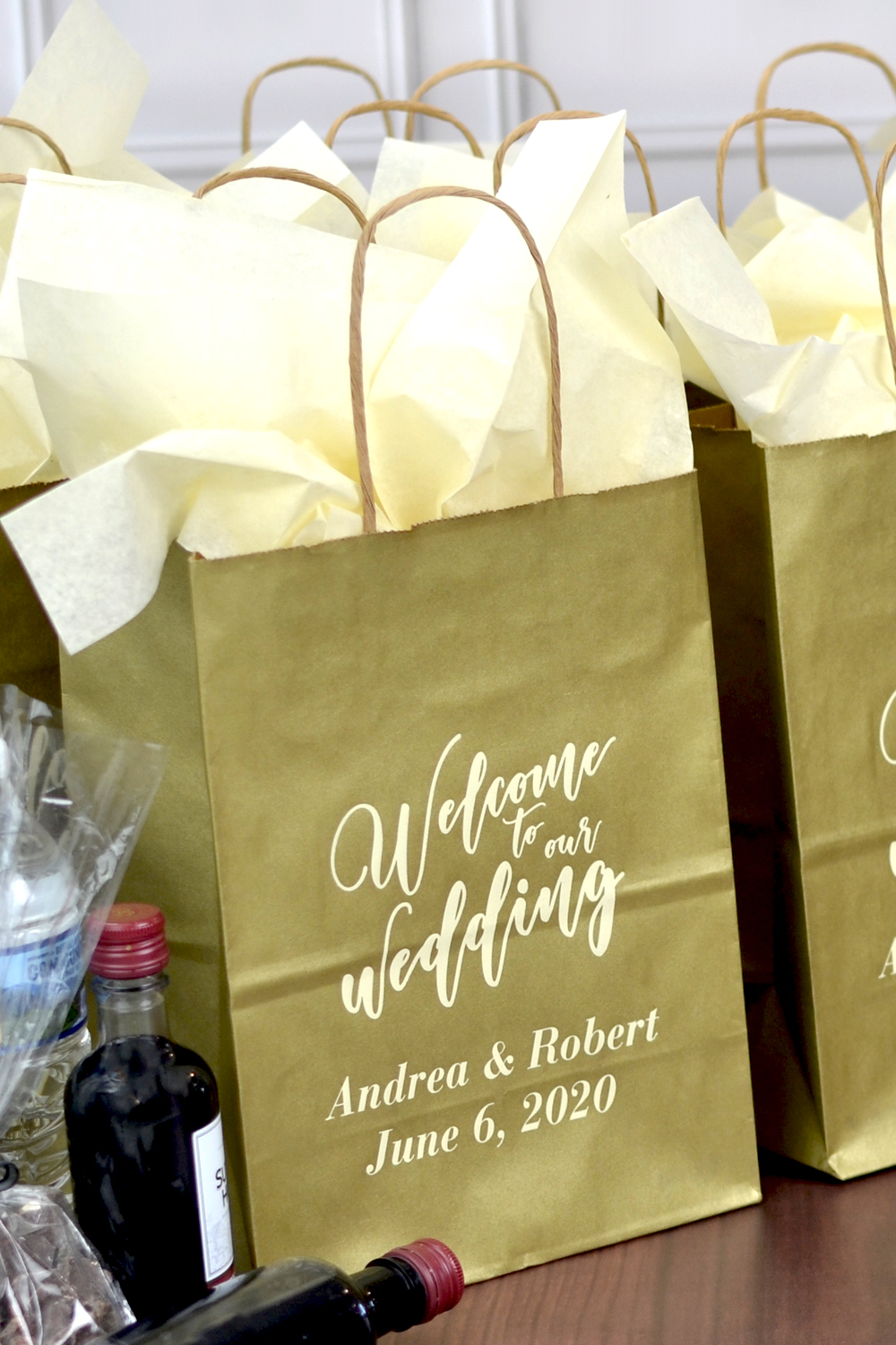 Gold Welcome To Our Wedding Guest Gift Bags