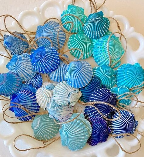 Blue Painted Scallop Shell Ornaments